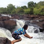 Swimming fun with our tour guide on the waterfall trip