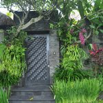 entry, with lush tropical gardens
