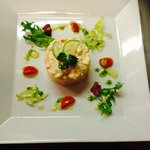 Neighbours Chefs-Mouthwatering Prawn &Crayfish Tian with Thousand Iceland dressing .
