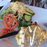Chicken & mushroom mornay filled crepe with salad. Delicious & filling!
