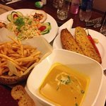 midnight snack, garlic bread, crispy fries, pumpkin soup and seafood rice