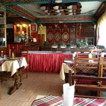 Typical Tibetan style dining room and restaurant.
