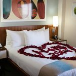 I booked the rose petals and ask the stuffs to shape for my wife.