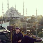 The roof deck has an amazing view over the blue mosque and hagia sophia