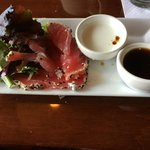 Seared ahi tuna with greens (sorry, partially eaten before I took photo!)