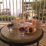 Breakfast on the hotel lounge balcony