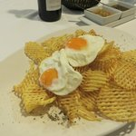 Waffle cut fries with fried egg was a good side