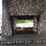 The beautiful entrance fireplace