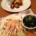 Shrimp tacos and mahi special with mango salsa and plantains