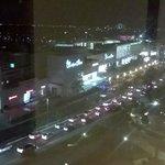 Luxury shopping mall by night.