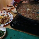 This is hot plate No.1. It had onions, mushrooms, beef, noodles and other yummy ingredients!