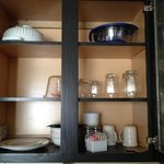 Dishes, strainer, toaster, coffee maker - all included