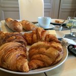 Each morning different breakfast! But Croissants-remaining part, full of Normandy butter and hea
