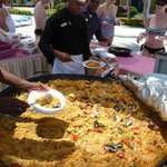 Paella at the pool - be the first in the line because the lobsters and shrimps finishes  fast