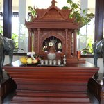 Traditional Buddhist shrine in lobby