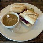 Pea soup & baked pastrami sandwich