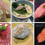 A selection of nigirizushi and the chawanmushi