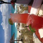 Watermelon margarita and a Grace Bay Iced Tea at The Deck