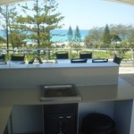 1 of 2 covered bbqs overlooking beach