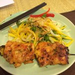BBQ chicken with mango salad
