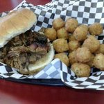 Brisket Sandwich with fried cheese cubes