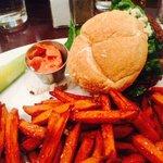 Falafel Burger with Sweet Potato Fries