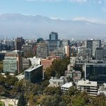 High View of Downtown Santiago with Mountains