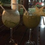 Our favorite drinks, mango melon and guaro