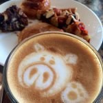 my cute piggy latte served by the hotel breakfast! Love it so much!!! :)