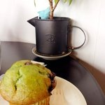Green tea chcocolate chip muffin-yum!