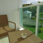 Enjoying coffee on our tiny balcony.