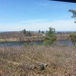 top of dark blue hiking trail overlooking sawmill lake