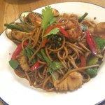 Seafood spaghetti - way too much chilli!