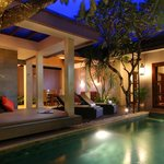 Outdoor room in villa in the night