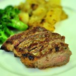steak + grilled brocolli + german potatoes