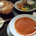 Tomato and basil soup and calamari. Yum!