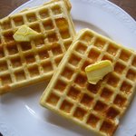 Freshly made waffles for breakfast, made with our own hen's eggs