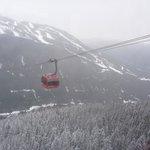 View of passing gondola from gondola