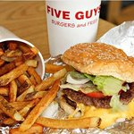 Cheeseburger, fries and drink @ Five Guys Kingston