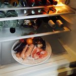 Every man's ideal fridge - fry up ingredients and Stella.