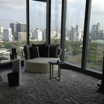 room looking out to Lumpini park and city