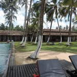 View of the back side, verandas and pool, from the beach.