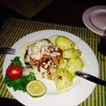 Grouper stuffed with prawn or lobster, was delicious