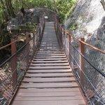 遊歩道に架かるつり橋