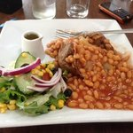 Jacket Potato with beans is served with side salad