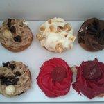 Cupcakes : praline, chocolat, framboise, banane