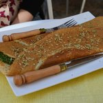 Spinach blue cheese crepe