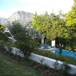 Sparkling pool and gardens at Le Franschhoek Hotel