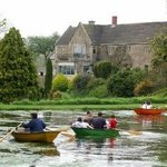 Boating on the lake in front of Batcombe House
