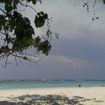 White sand and sunny beach